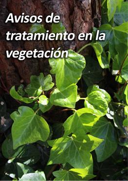 Avisos de tratamiento en la vegetación