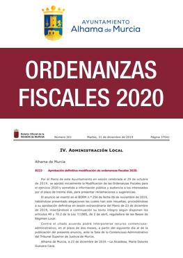 Ordenanzas fiscales 2020