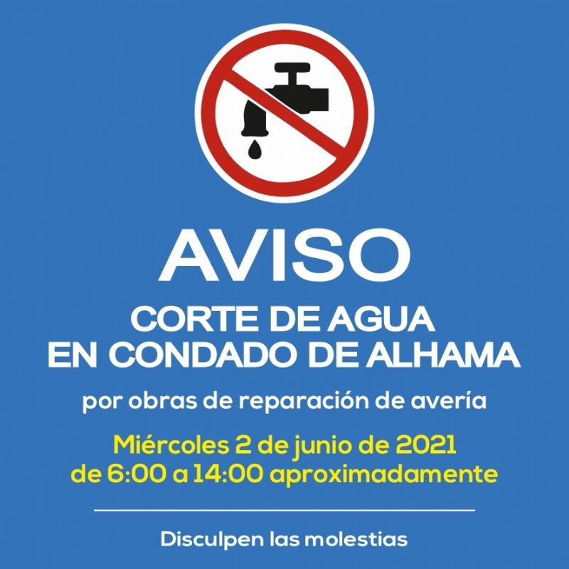 🚫 AVISO: corte de agua por reparación de avería el miércoles 2 de junio en Condado de Alhama