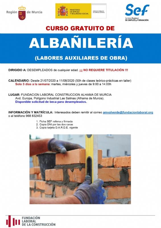 Curso gratuito de albañilería en la Fundación Laboral de la Construcción