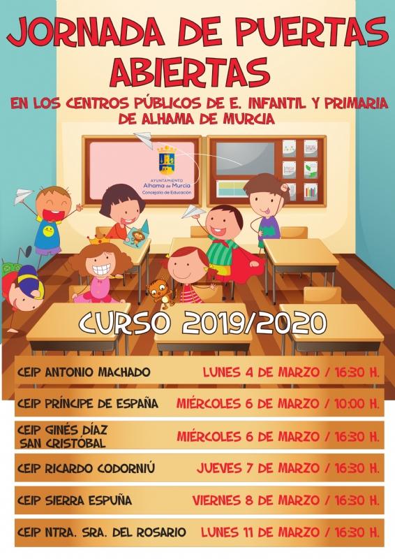 Jornadas de puertas abiertas en los colegios públicos de Alhama. Curso 2019-2020
