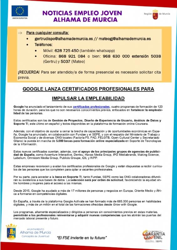 Boletín semanal del centro de empleo para jóvenes (15-04-2021)