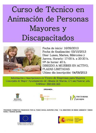 El Ayuntamiento organizada un curso de Técnico de Animación de Personas Mayores y Discapacitados