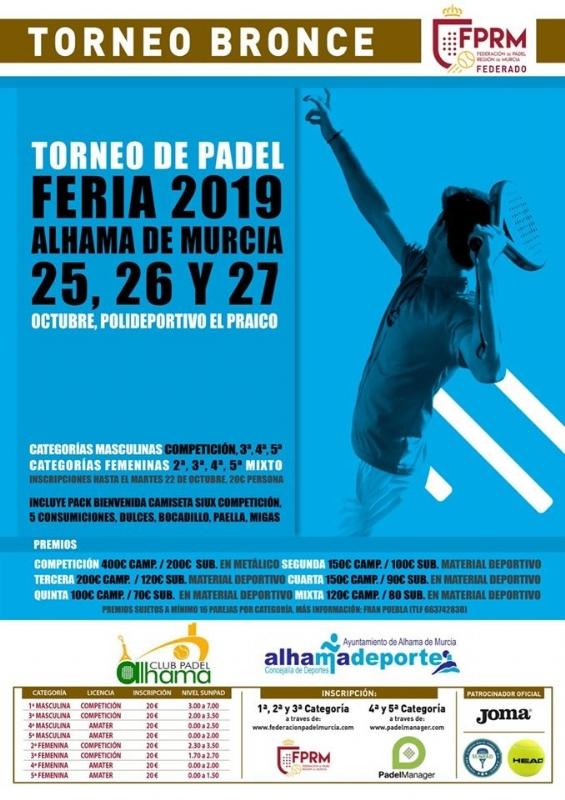 Torneo de pádel Feria 2019. Del 25 al 27 de octubre