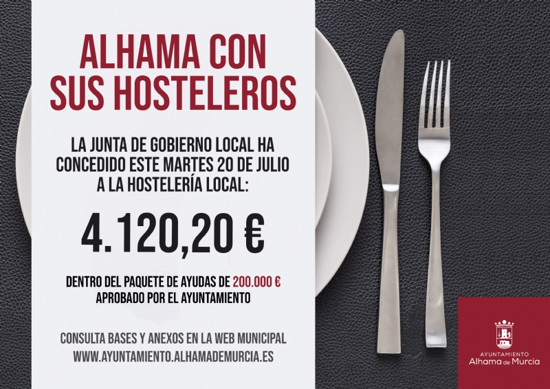 La Junta de Gobierno aprueba las últimas solicitudes de ayuda a la hostelería de Alhama