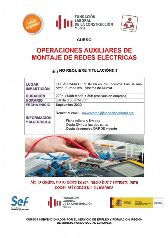 Curso gratuito de operaciones auxiliares de montaje de redes eléctricas en la Fundación Laboral de la Construcción