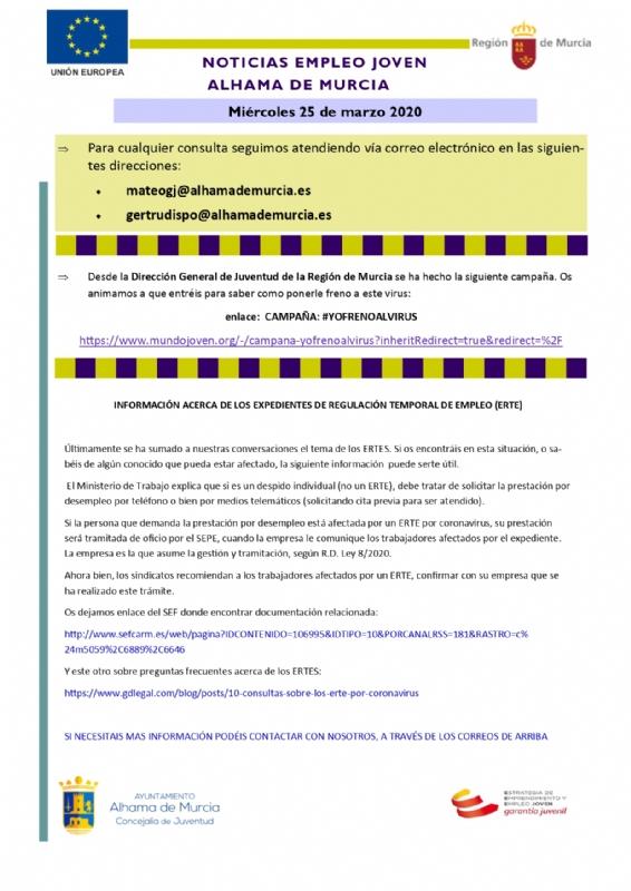 Información acerca de los Expedientes de Regulación Temporal de Empleo (ERTE)