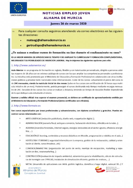 Cursos de formación online durante el confinamiento en casa