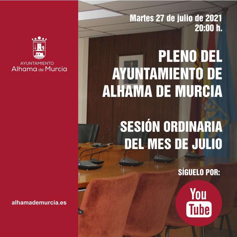 Convocatoria de Pleno: sesión ordinaria » martes 27 de julio de 2021