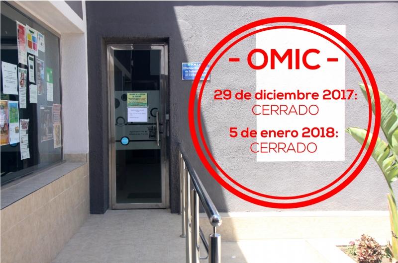 La Oficina de Atención al Consumidor cerrará los días 29 de diciembre y 5 de enero