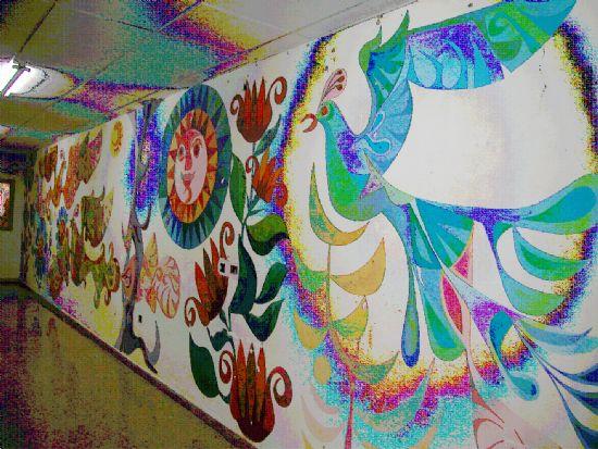 Restaurado un mural de Párraga del colegio Príncipe de España