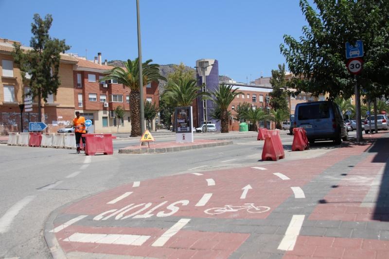 La avenida Ginés Campos, cortada parcialmente por las obras en la avenida Cartagena