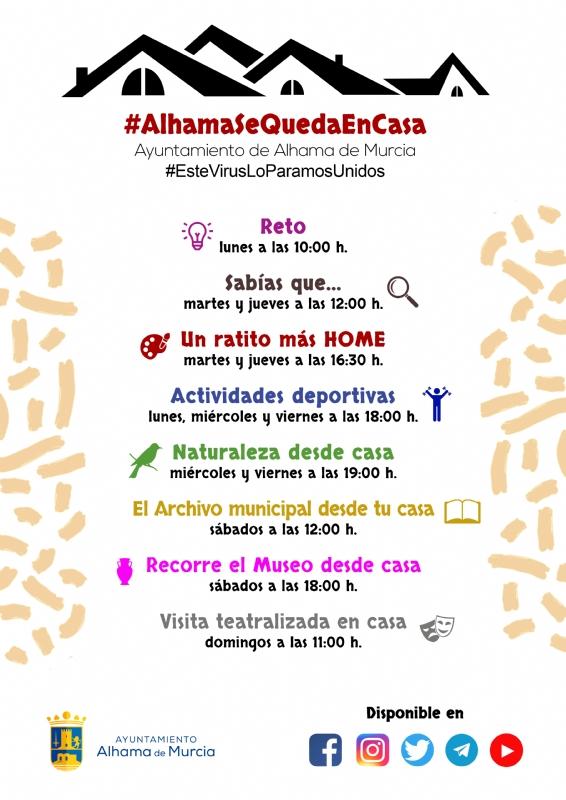 Nuevos horarios de las actividades #AlhamaSeQuedaEnCasa