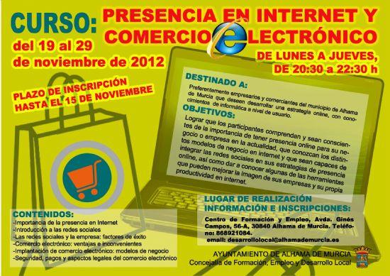 """El Ayuntamiento organiza el curso """"Presencia en Internet y Comercio Electrónico"""" dirigido a empresarios y comerciantes del municipio"""
