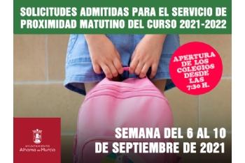 Solicitudes admitidas para el Servicio de Proximidad Matutino. Semana del 6 al 10 de septiembre de 2021
