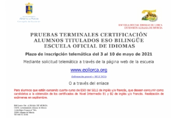 Plazo de inscripción para pruebas de certificación de alumnos de ESO bilingüe. Del 3 al 10 de mayo
