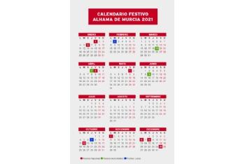 Calendario festivo para 2021 en Alhama de Murcia