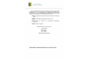 Convocatoria de la Junta Local de Participación Ciudadana: 8 de marzo de 2021