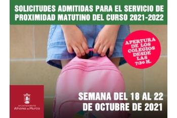 Solicitudes admitidas para el Servicio de Proximidad Matutino. Semana del 18 al 22 de octubre de 2021