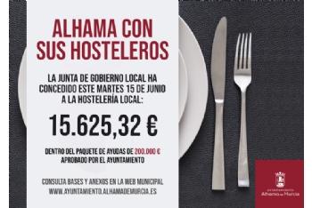 La Junta de Gobierno concede esta semana otros 15.600 euros en ayudas a la hostelería local