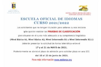 Abierto el plazo de solicitud de las pruebas de clasificación de la Escuela Oficial de Idiomas