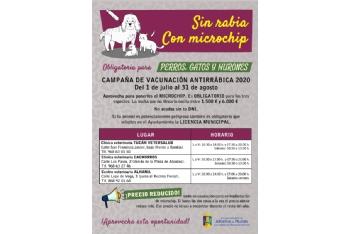 Campaña de vacunación antirrábica y microchip 2020. Del 1 de julio al 31 de agosto