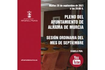 Convocatoria de Pleno: sesión ordinaria » martes 28 de septiembre de 2021