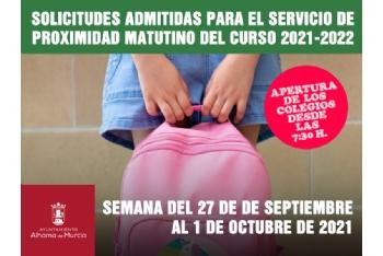 Solicitudes admitidas para el Servicio de Proximidad Matutino. Semana del 27 de septiembre al 1 de octubre