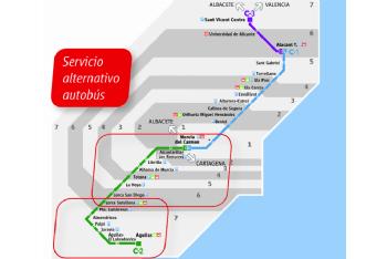 Horarios del servicio alternativo de autobús línea Murcia-Águilas por las obras de ADIF
