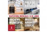 Biblioteca, sala de estudio, museo y archivo municipal reabren este miércoles 10 de junio