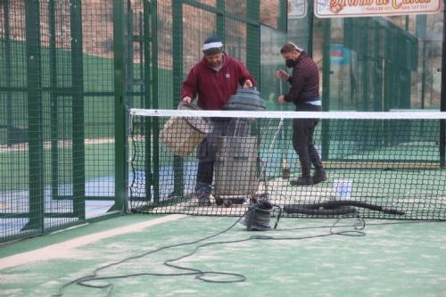 Arreglo de los daños provocados por la borrasca Hortense en el polideportivo El Praíco