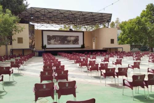 Preparando el auditorio municipal para el concierto de Semana Santa 2021